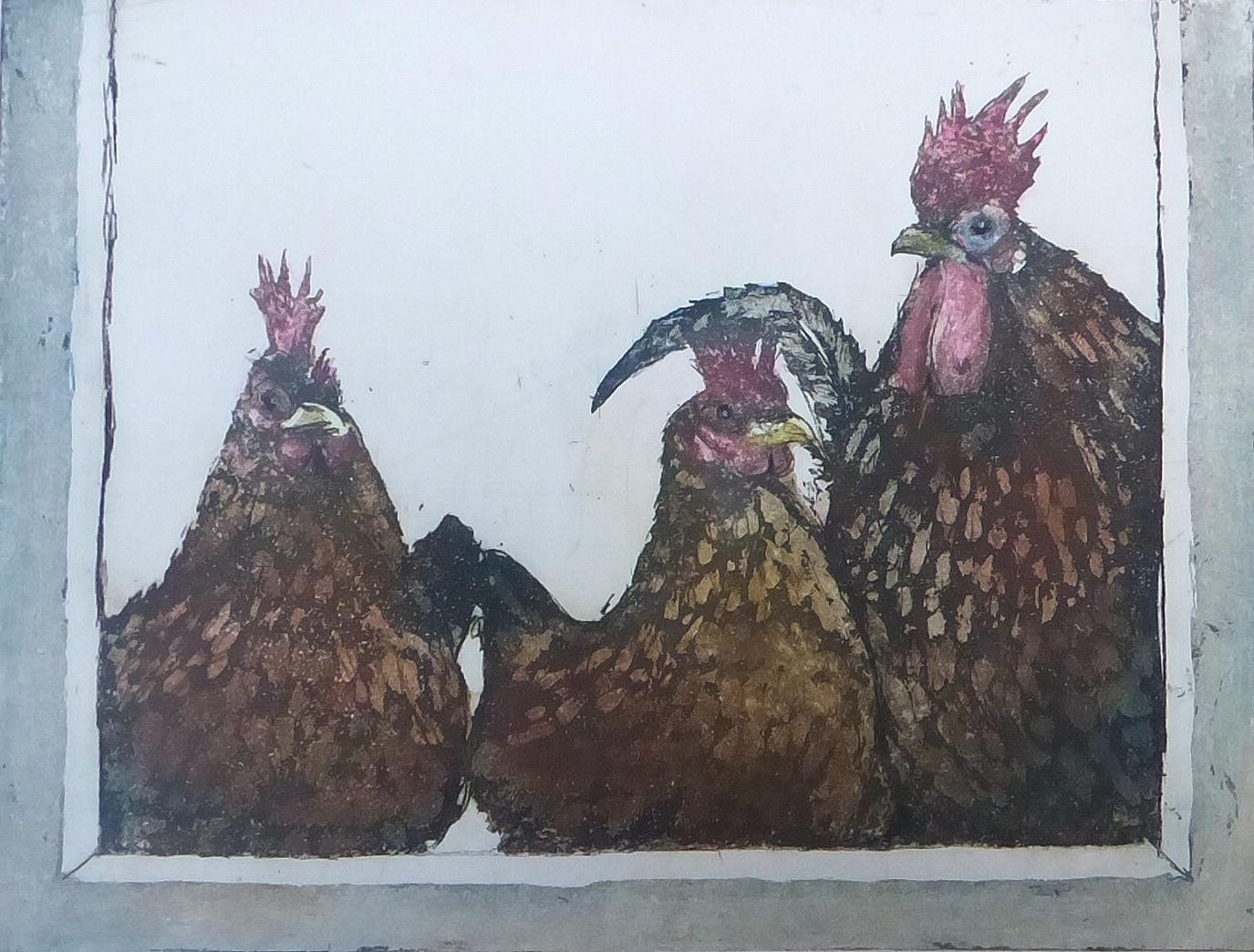 Radierung Hennen